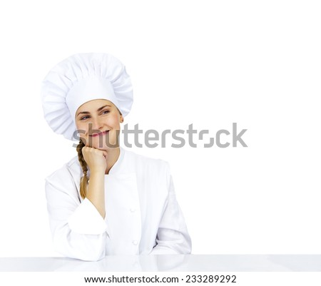 Chef thinking looking smiling and happy to the side. Woman chef, cook or baker in chef uniform and hat.   - stock photo