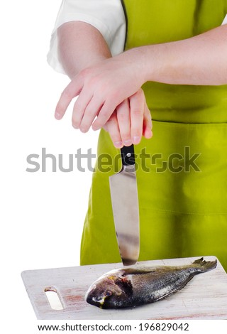Chef  with a  knife and fish isolated on a white background - stock photo
