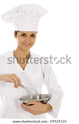 Chef with bowl and whisk - stock photo
