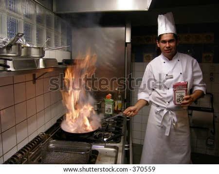 Chef with burning flames