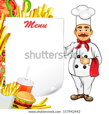 Chef with fast food product