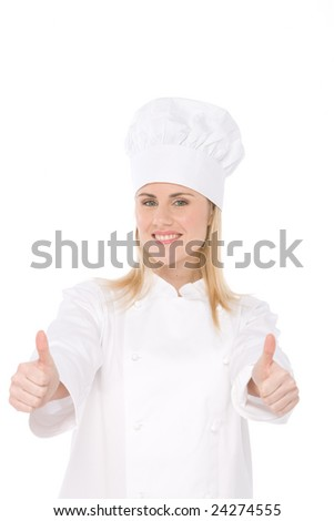 chef with fork an wood spun isolated on white
