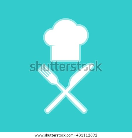 Chef with knife and fork sign - stock photo