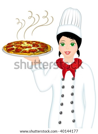 CHEF WITH PIZZA - stock photo