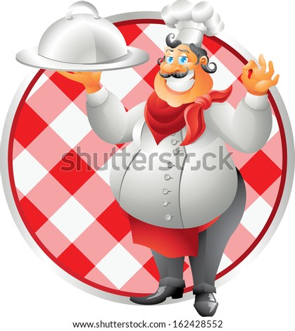 chef with plate table cloth - stock photo