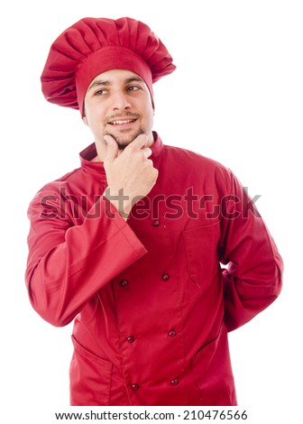Chef with red costume thinking in studio shot - stock photo