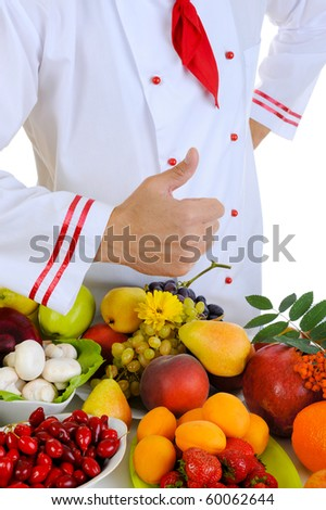 Chef with thumb. Isolated on white background - stock photo