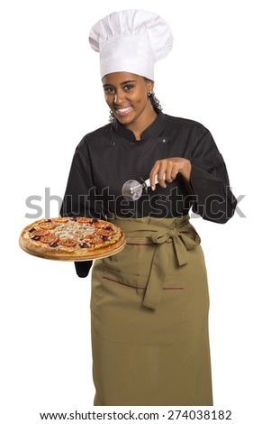Chef woman giving pizza isolated on white background - stock photo