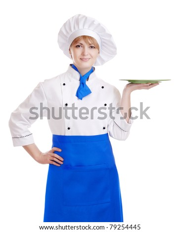 Chef woman holding a plate - stock photo