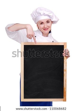Chef woman holding the menu board on white background - stock photo