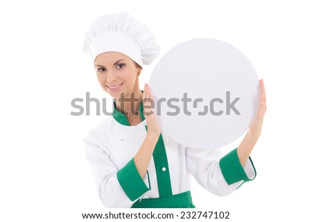 chef woman in uniform holding big  empty plate with copy space isolated on white background - stock photo