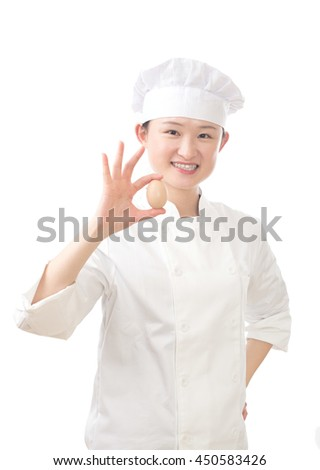Chef woman on white background.