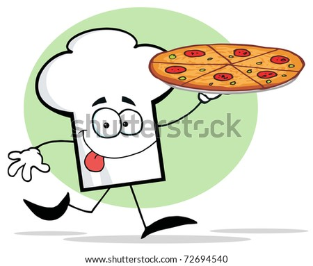 Chefs Hat Character Holding And Running With Pizza - stock photo