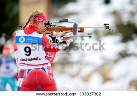 Cheile Gradistei, Roamania - January 31: Unknown competitor in IBU Youth&Junior World Championships Biathlon 24th of January 2016 to 02 February 2016, in Cheile Gradistei, Romanaia