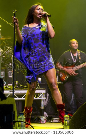 CHELMSFORD - AUG 19: Beverly Knight Performs at V Festival Chelmsford, AUG 19, 2012 in Chelmsford, UK - stock photo