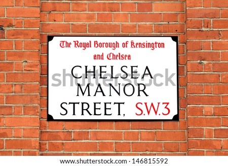 Chelsea Manor Street Sign,  London - stock photo