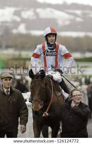 CHELTENHAM, GLOUCS-JANUARY 26: Jockey Aidan Coleman returns with Katenko after the third race at Festival Trials Day, Cheltenham Racecourse, Cheltenham UK on Jan 26, 2013. - stock photo