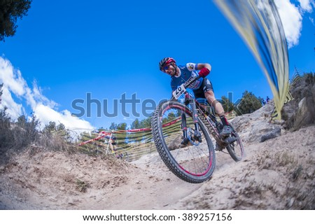 Chelva, SPAIN - MARCH 6: Francisco Javier Poza during Spanish Open BTT XCO on March 6, 2016 in Chelva, Spain
