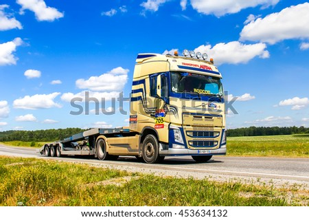 CHELYABINSK REGION, RUSSIA - JULY 11, 2016: Assistance truck Volvo FH12 No. 703 takes part in the annual Rally Silkway - Dakar Series.