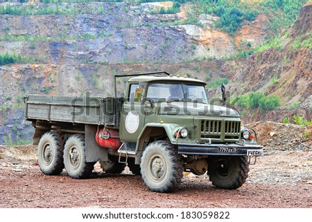 CHELYABINSK REGION, RUSSIA - JULY 21, 2012: Russian military ZIL 131 vehicle at the countryside. - stock photo