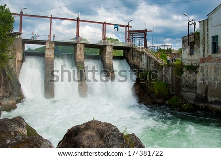 Chemal hydroelectric power plant. Altai (Siberia, Russia). - stock photo