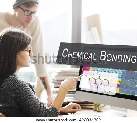 Chemical Bonding Experiment Research Science Table of Elements Concept - stock photo