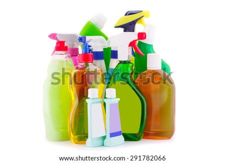 Chemical cleaning supplies isolated on white background. - stock photo