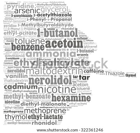 Chemical compounds in a cigarette: text graphics. - stock photo