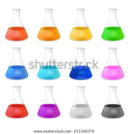 Chemical conical flask icon set with different colored solutions, 3d illustration, isolated on white background, raster - stock photo