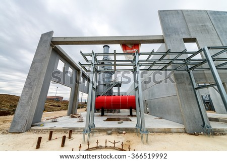 Chemical construction site with rotary kiln.