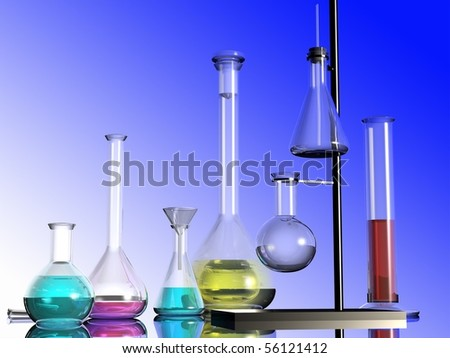 Chemical devices on a mirror surface - stock photo