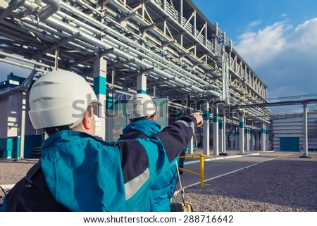 chemical factory producing synthetic rubber - stock photo