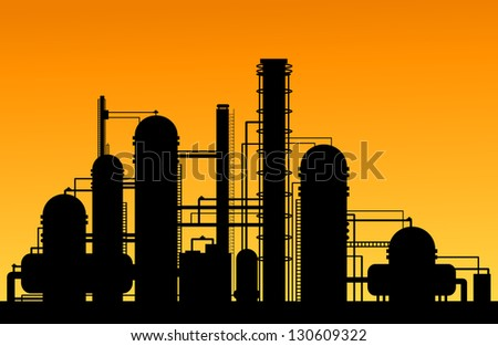 Chemical factory silhouette for industrial and technology design. Vector version also available in gallery - stock photo