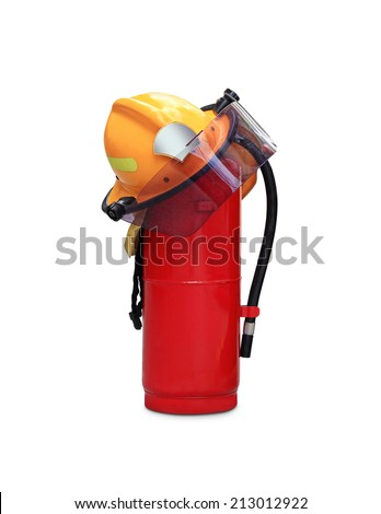 chemical fire extinguisher and safety helmet through the use of firefighters in thailand isolated on white background  - stock photo