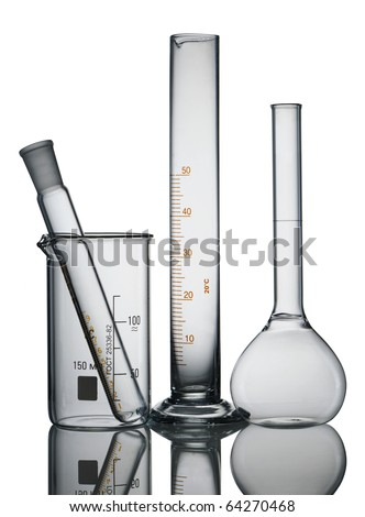 Chemical flasks isolated over white background - stock photo