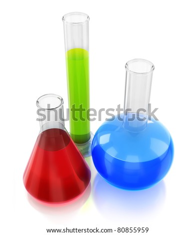 Chemical flasks with reagents 3d render