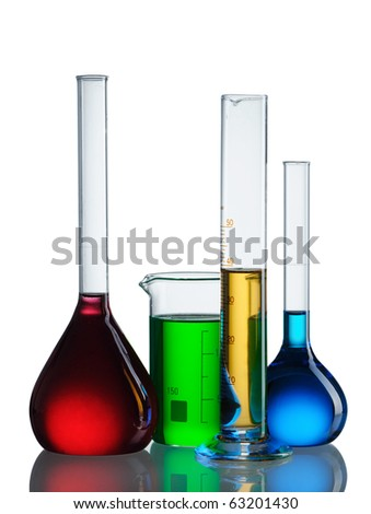 Chemical flasks with reagents isolated on white background - stock photo