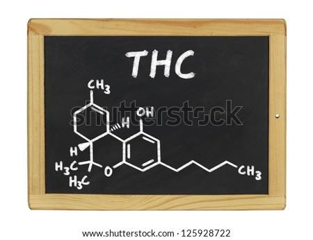 chemical formula of THC on a blackboard - stock photo