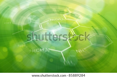 Chemical formulas & green ecology radial background - science illustration. Bitmap copy my vector ID 81545665 - stock photo