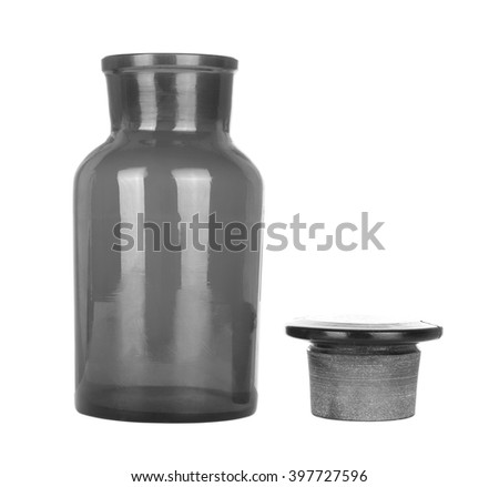 chemical glass bottle on white background - stock photo