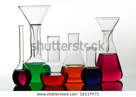 chemical glass in laboratory - stock photo