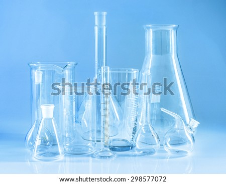 Chemical glassware. Chem laboratory. Close up. - stock photo