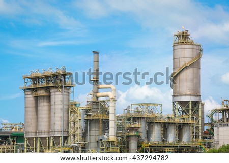 Chemical industrial plant with blue sky