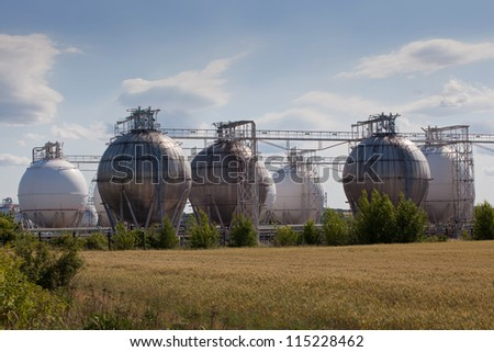 Chemical industrial storage sphere tanks - stock photo