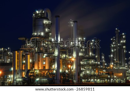 Chemical industry by night - stock photo