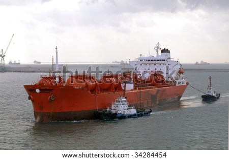 Chemical industry - chemical tanker - stock photo