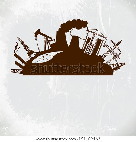 Chemical industry, energy and gas refinery plants.  illustration. - stock photo