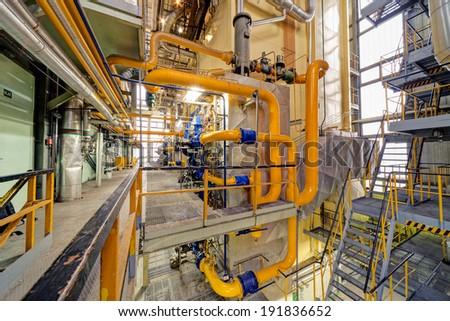 Chemical industry plant with pipes and valves  - stock photo