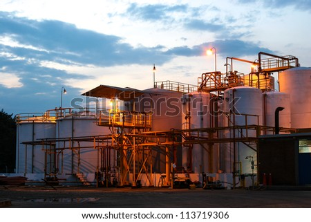 Chemical Industry, Storage Tank In Industrial Plant - stock photo