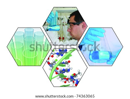 chemical laboratory collage - stock photo